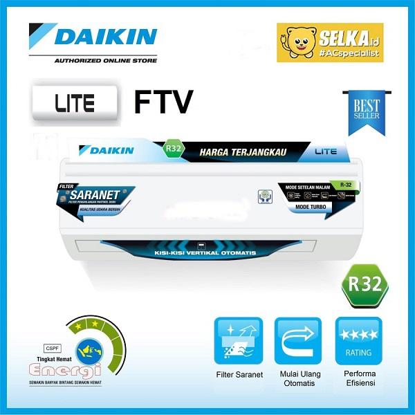 Daikin FTV15CXV14 AC Split 1/2PK Standard Malay Lite Putih