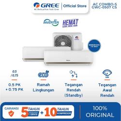 Gree AC Combo Split 1/2 PK + 3/4 PK 2 Koneksi (GWC-0507CS) Inverter